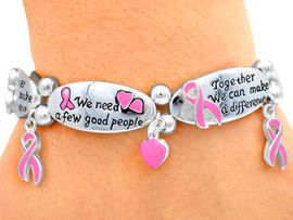 "<Br> W3910B - ""TOGETHER WE CAN,<br>      MAKE A DIFFERENCE"" PINK<Br>AWARENESS STRETCH BRACELET<br>            FROM $3.94 TO $8.75"