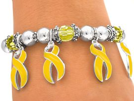 "W3964B - ""SUPPORT OUR TROOPS!""<BR>   YELLOW RIBBON CHARM STRETCH<BR>      BRACELET FROM $3.35 TO $7.50"