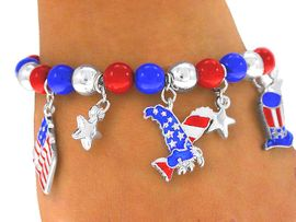 "<BR>     W3965B - ""TRUE AMERICAN""<BR>  RED, SILVER, AND BLUE BEADED<bR>STRETCH CHARM BRACELET FROM<bR>                     $3.94 TO $8.75"