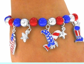 """<BR>     W3965B - """"TRUE AMERICAN""""<BR>  RED, SILVER, AND BLUE BEADED<bR>STRETCH CHARM BRACELET FROM<bR>                     $3.94 TO $8.75"""