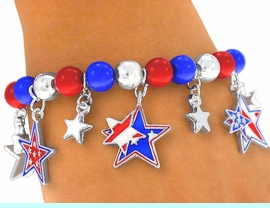 """<br>    W3966B - """"AMERICAN STARS!""""<BR>      RED, SILVER, & BLUE STRETCH<BR>            CHARM BRACELET FROM<bR>                      $3.94 TO $8.75"""