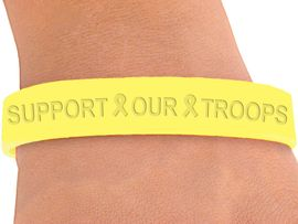 "<BR>  W4331JB - ""SUPPORT OUR TROOPS"" <BR>YELLOW JELLY BAND BRACELET&#169;2004<BR>    IN QUANTITY FROM $.29 TO $5.00<BR>WE ARE THE ONLY MANUFACTURER OF<BR>                          THIS BRACELET"