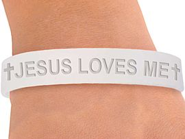 "<BR>        W4351JB - ORIGINAL ""JESUS LOVES ME""<BR>FROSTED WHITE JELLY BAND BRACELET&#169;2004<BR>                 IN QUANTITY AS LOW AS $ .29<BR>      WE ARE THE ONLY MANUFACTURER OF<BR>                            THIS BRACELET!"