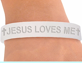 """<BR>        W4351JB - ORIGINAL """"JESUS LOVES ME""""<BR>FROSTED WHITE JELLY BAND BRACELET&#169;2004<BR>                 IN QUANTITY AS LOW AS $ .29<BR>      WE ARE THE ONLY MANUFACTURER OF<BR>                            THIS BRACELET!"""