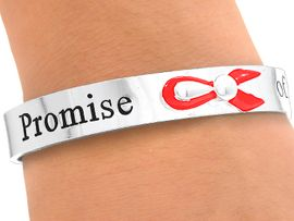 "<bR> W4354B - ""PROMISE OF A CURE""<BR>RED AWARENESS CUFF BRACELET<BR>              FROM $3.35 TO $7.50"