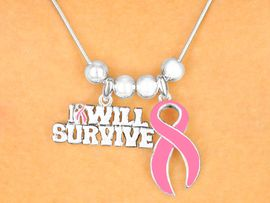 "W4392NE-""I WILL SURVIVE"" BREAST<BR>     CANCER AWARENESS NECKLACE<BR>  AND EARRING SET AS LOW AS $2.85"