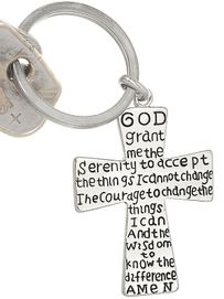 W4396KC-SERENITY PRAYER SILVER<BR>              FINISH CROSS KEYCHAIN<BR>                      FROM $3.35TO $7.50