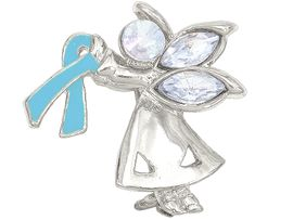 "<br>W4434P - CHARMING ""ANGEL BY MY SIDE""<BR>     SILVER TONE TEAL AWARENESS ANGEL<Br>               PIN &#169;2005   $.93 EACH PIN<bR>                     EXCLUSIVELY OURS!<BR>        MINIMUM QUANTITY 10 PINS  �2004"