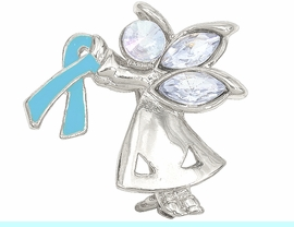 """<br>W4434P - CHARMING """"ANGEL BY MY SIDE""""<BR>     SILVER TONE TEAL AWARENESS ANGEL<Br>               PIN &#169;2005   $.93 EACH PIN<bR>                     EXCLUSIVELY OURS!<BR>        MINIMUM QUANTITY 10 PINS  �2004"""