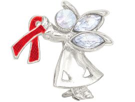 """<br>W4436P - CHARMING """"ANGEL BY MY SIDE""""<BR>      SILVER TONE RED AWARENESS ANGEL<BR>            PIN&#169;2005 FROM $2.81 TO $7.50<BR>     EXCLUSIVELY OURS! WE ARE THE ONLY<Br>              MANUFACTURER OF THIS PIN!"""