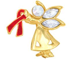 """<br>W4439P - CHARMING """"ANGEL BY MY SIDE""""<BR>        GOLD TONE RED AWARENESS ANGEL<BR>             PIN&#169;2005 FROM $2.81 TO $7.50<BR>     EXCLUSIVELY OURS! WE ARE THE ONLY<br>               MANUFACTURER OF THIS PIN!"""