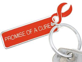 """<Br>     W4449KC - """"PROMISE OF A CURE""""<BR>     RED AWARENESS KEY CHAIN&#169;2005<BR>                         AS LOW AS $2.50<br>  EXCLUSIVELY OURS! WE ARE THE ONLY<BR>   MANUFACTURER OF THIS KEY CHAIN!"""