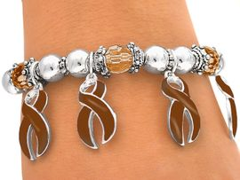 <br>W4606B - BROWN AWARENESS<bR>       RIBBON CHARM STRETCH<BR>         BRACELET&#169;2005 FROM<Br>                  $2.81 TO $6.25
