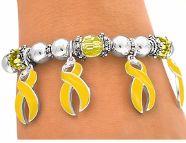 <br>W4609B - YELLOW AWARENESS<bR>       RIBBON CHARM STRETCH<BR>         BRACELET&#169;2005 FROM<Br>                  $2.81 TO $6.25