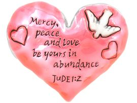 "<br>       W4615P - INSPIRATIONAL JUDE1:2<bR>     ""MERCY, PEACE AND LOVE..."" PINK<BR>HEART PIN/PENDANT FROM $2.70 TO $5.00"