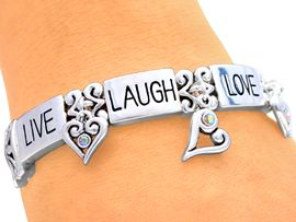 "W4638B - INSPIRATIONAL SILVER<bR>    TONE MAGNETIC ""LIVE, LAUGH,<BR>          LOVE..."" BRACELET FROM<Br>                    $5.85 TO $13.00"