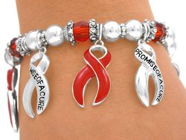 "<Br> W4694B - ""PROMISE OF A CURE""<bR>RED AWARENESS STRETCH CHARM<BR>   BRACELET FROM $3.35 TO $7.50"
