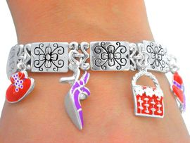 <Br>    W4737B - WONDERFUL SILVER<BR>  TONE RED HAT MAGNETIC CLASP<BR>CHARM STRETCH BRACELET FROM<Br>                     $4.50 TO $10.00