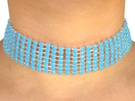 W4882N - NEW! 7-ROW TURQUOISE<BR>    COLOR FACETED STONE CHOKER<Br>                    AS LOW AS $2.45