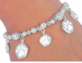 W4949B - WHITE  SCHOOL<BR>   SPIRIT  PAWS BRACELET<BR>      FROM $3.35 TO $7.50