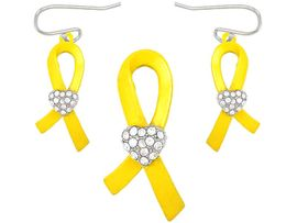"""W5021PE-NEW! """"SUPPORT OUR TROOPS""""<BR>      YELLOW RIBBON & CRYSTAL HEART<BR>            PENDANT/PIN & EARRING SET<BR>                          AS LOW AS $3.90"""