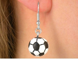 <BR>W5076E - FUN SOCCER BALL<bR> EARRINGS FROM $3.35 TO $7.50