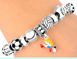 """W5089B - """"CHEERLEADER"""" & SPORTS<BR>     LOBSTER CLASP BRACELET FROM<bR>                          $5.63 TO $12.5"""