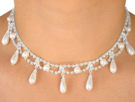 W5228NE - BREATHTAKING AUSTRIAN<bR> CRYSTAL & PEARL DROP NECKLACE &<Br>                             EARRING SET<Br>       YOUR LOW PRICE IS ONLY $12.19