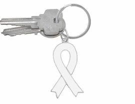 W5288KC - WHITE AWARENESS RIBBON<BR>     KEY CHAIN&#169;2005 AS LOW AS $2.65<BR>  EXCLUSIVELY OURS! WE ARE THE ONLY<bR>    MANUFACTURER OF THIS KEYCHAIN!