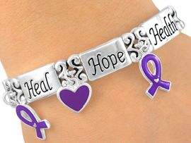 """<br>W5424B - """"HEALTH, HOPE, HEAL""""<br>  PURPLE AWARENESS BRACELET<br>             FROM $3.94 TO $8.75"""
