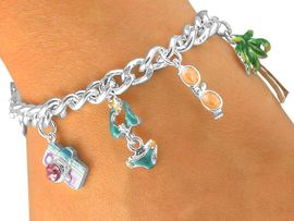 """<br>                      W5438BA - 4-COLOR<Br>     """"VACATION PARADISE"""" SILVER TONE<bR>TOGGLE CHARM BRACELET ASSORTMENT<br>                           AS LOW AS $4.60"""