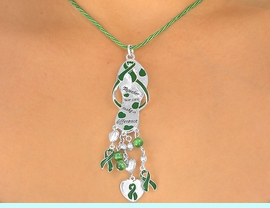 """<br>W5465NE - """"TOGETHER WE CAN...""""<BR>KELLY GREEN AWARENESS RIBBON<BR>          NECKLACE & EARRING SET<br>                     AS LOW AS $3.45"""