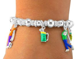W5469B - SILVER TONE MULTI COLOR<bR>     GOLF STRETCH CHARM BRACELET<br>                  FROM $5.06 TO $11.25