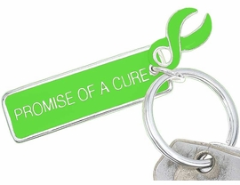 "<Br>    W5482KC - ""PROMISE OF A CURE""<BR>     LIME GREEN AWARENESS RIBBON<Br>    KEYCHAIN&#169;2005 AS LOW AS $2.50<br>EXCLUSIVELY OURS! WE ARE THE ONLY<bR>  MANUFACTURER OF THIS KEY CHAIN!"