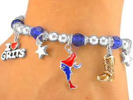 "<bR> W5493B - ""I LOVE GRITS"" BLUE<Br>        BEADED STRETCH CHARM<BR>BRACELET FROM $3.60 TO $8.00"