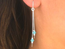 """<br>  W5511EA - 3-COLOR """"STERLING SILVER""""<Br>     FISHHOOK WIRE FACETED BEAD DROP<Br>  EARRING ASSORTMENT AS LOW AS $5.25"""
