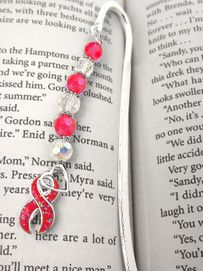 W5524BM - RED AIDS & HEART DISEASE<BR>       AWARENESS RIBBON BOOKMARK<Br>                       AS LOW AS $3.45<BR>                                  ©2004