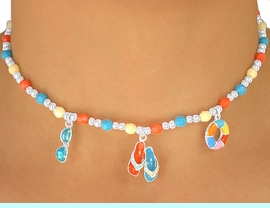 """<br> W5587NBRA - ADORABLE 5-COLOR<br>    CHILDREN'S LEAD & NICKEL FREE<Br>""""BEACH FUN"""" NECKLACE, BRACELET<br>            & RING SET ASSORTMENT<Br>                    AS LOW AS $2.05"""
