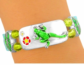 <bR>  W5632B - SHIMMERING AQUA BLUE<Br>    LEATHER BAND & STRETCH CENTER<Br>FROG BRACELET FROM $3.04 TO $6.25