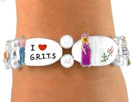 "W5648B - ""I LOVE GRITS"" SILVER<bR>FINISH STRETCH BRACELET FROM<Br>                   $5.06 TO $11.25"