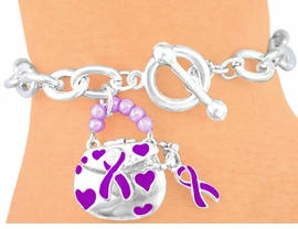 <BR> W5735B - PURPLE AWARENESS<Br>     RIBBON HANDBAG TOGGLE<Br>BRACELET FROM $2.81 TO $6.25