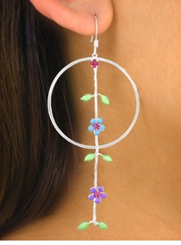 <br>      W5746EA - 3-COLOR RING &<Br>HANDPAINTED AUSTRIAN CRYSTAL<br>     FLOWER CHAIN VINE EARRING<br>   ASSORTMENT AS LOW AS $3.45