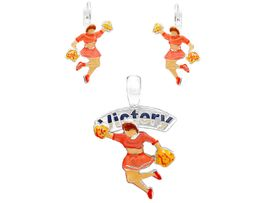 "<br>  W5765PE - COLORFUL ""VICTORY""<Br>CHEERLEADER PENDANT & EARRING<bR>                SET AS LOW AS $2.55"