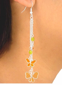 W5770EA - 6-COLOR TRIPLE-CHAIN DROP<br>           COLORED AURORA BOREALIS &<br>    BUTTERFLIES EARRING ASSORTMENT<bR>                          AS LOW AS $2.40