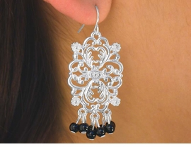 W5844EA - FASHIONABLE NEW! 2-COLOR<Br>VINTAGE FLOWER DESIGN FISHHOOK WIRE<Br>  EARRING ASSORTMENT AS LOW AS $2.55