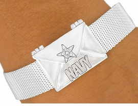 W5888B -NAVY LOVE MESSAGE ENVELOPE<Br>        MAGNETIC CLASP MESH BRACELET<Br>                      FROM $6.75 TO $15.00