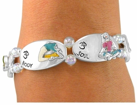 "<Br>  W5953B - ""SOUL, MIND, & BODY""<Br>IRIDESCENT BEADED YOGA STRETCH<br>   BRACELET FROM $4.73 TO $10.50"