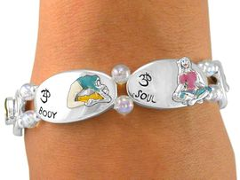 """<Br>  W5953B - """"SOUL, MIND, & BODY""""<Br>IRIDESCENT BEADED YOGA STRETCH<br>   BRACELET FROM $4.73 TO $10.50"""