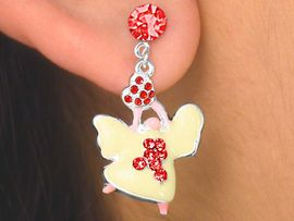 W6157E - GENUINE AUSTRIAN CRYSTAL<Br>    RED AWARENESS GUARDIAN ANGEL<br>  PIERCED EARRINGS AS LOW AS $2.40