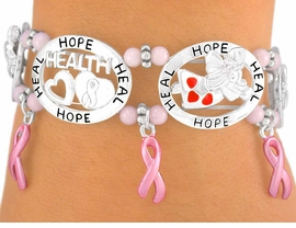 "W6282B -  ""HOPE"" & ""HEAL""<br>BREAST CANCER AWARENESS<br> RIBBON STRETCH BRACELET<br>       FROM $5.63 TO $12.50"